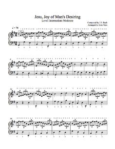 Jesu by Johann Sebastian Bach Piano Sheet Music | Intermediate Level