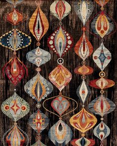 Fabulous shapes and striking colours in this statement piece Indian rug offered by Pars Rug Gallery at www.edenbridgegalleries.com.