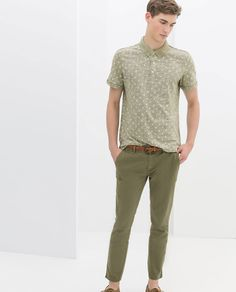 Image 1 of CHINOS WITH TOP STITCHING AND BELT from Zara