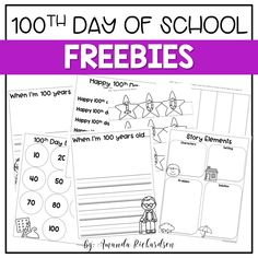 day of school activities that are great for kindergarten and first grade! Prepare for the day of school with these FREE day of school activities! See how this teacher creates a day of fun and sticks to standards. 100th Day Of School Crafts, 100 Days Of School, First Day Of School, School Fun, School Holidays, School Stuff, 100s Day, 100 Day Celebration, Hundred Days