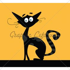 Black Silhouette Of Cat Isolated On Color Backg...