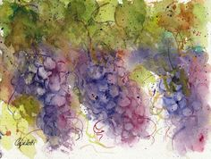 Heard It Through The Grapevine - original watercolor painting by Barb Capeletti. Available on Etsy. Watercolors, Watercolor Paintings, Grape Vines, Note Cards, Giclee Print, Fine Art, Wine, Unique Jewelry, Handmade Gifts
