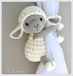 Buttercup Lamb curtain tieback crochet PATTERN right or