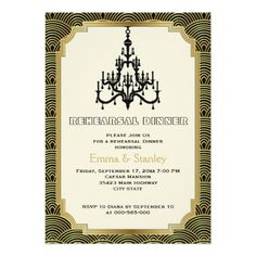Chandelier Wedding Rehearsal Dinner Art Deco chandelier gold wedding rehearsal dinner Card