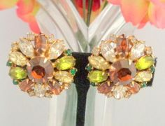 Vintage Classic HOBE Brown, Green and Yellow Rhinestone Earrings that feature a Center Stone in Fall Colors Set in Goldtone Metal and Signed Free Shipping for the Weekend.
