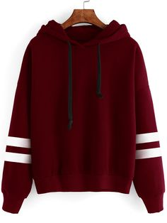 Shop Burgundy Drop Shoulder Varsity Striped Hooded Sweatshirt online. SheIn offers Burgundy Drop Shoulder Varsity Striped Hooded Sweatshirt & more to fit your fashionable needs.