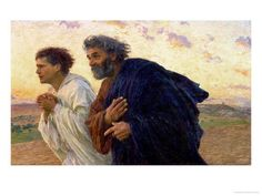 The Disciples Peter and John Running to Sepulchre on the Morning of the Resurrection, circa 1898 Giclee Print by Eugene Burnand at Art.com