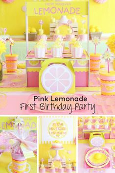 Create fond memories with this Pink Lemonade First Birthday Party. We love the sweet details of this first birthday party! Create fond memories with this Pink Lemonade First Birthday Party. We love the sweet details of this first birthday party! Yellow Birthday Parties, Paris Birthday Parties, 1st Birthday Party For Girls, First Birthday Themes, First Birthdays, Birthday Ideas, Spa Birthday, Paris Party, Pink Lemonade Party