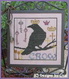 """Royal Crow"" Cross stitch pattern from Designs by Lisa www.xstitchdesignsbylisa.com"