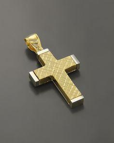 Βαπτιστικός Σταυρός Χρυσός & Λευκόχρυσος Κ14