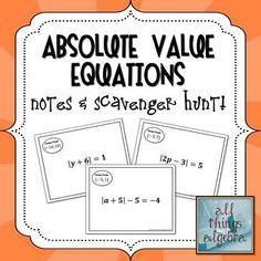Absolute Value Equations - Notes & Scavenger Hunt.They walk around the room.to find the next problem. Algebra 1 Textbook, Algebra Lessons, Algebra Activities, Algebra 2, Math Games, Math Teacher, Math Classroom, Teaching Math, Teaching Ideas