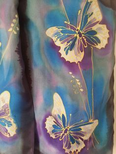 Gold Filigree Butterfly Silk Scarf, Hand Painted silk scarf, Lacy Gold wings…x Fabric Painting, Fabric Art, Painted Silk, Hand Painted, Batik Art, Painted Clothes, Silk Art, Purple Teal, Valentine Gifts