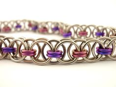 Pink and Purple Chainmail Bracelet Kit - Stainless Steel and Niobium. $30.00, via Etsy.