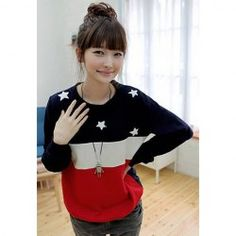 $7.09 Relaxed Round Neck Star Print Color Matching Sweatshirt For Women