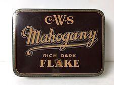 Vintage CWS Mahogany Rich Dark Flake Tobacco Tin