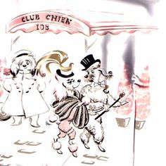 """A night on the town for a fancy lady Poodle at """"Club Chien"""". Vintage vinyl shower curtain, brand new in the box"""