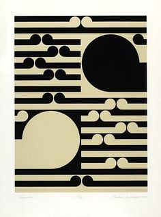 """Tamaki"" painting of black and cream colour white geometric circles and long line shapes by Gordon Walters, NZ. Maori Patterns, Geometric Patterns, Creative Poster Design, Poster Designs, Maori Designs, New Zealand Art, Nz Art, Maori Art, Spirited Art"