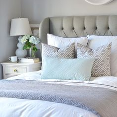 tufted headboard guest room