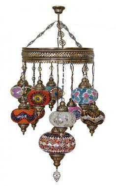LUSTRE DE MOSAICO TURCO (Sultão 10+1) - Produtos Importados da Turquia - Loja VirtualProdutos Importados da Turquia – Loja Virtual
