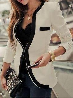 Black and white collarless blazer fashion style. This is a nice blazer!