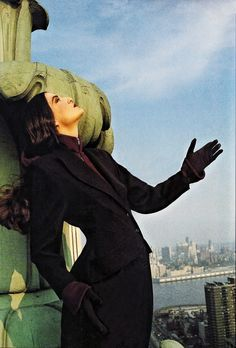 Model wearing Puck & Hans, on top of the Life Insurance Building, c. 1980  Photograph by French fashion designer Thierry Mugler