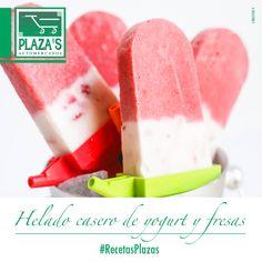 Helado de fresa y yogurt: fresas + yogurt natural, licuar, endulzar al gusto, colocar moldes para helados y al congelador. https://www.facebook.com/elplazas/photos/a.639357306135879.1073741879.145157952222486/702474306490845/?type=3&theater