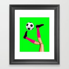 Soccer Legs! Framed Art Print  #soccer #barbie #football #sports #bicyclekick #humour #girlscan