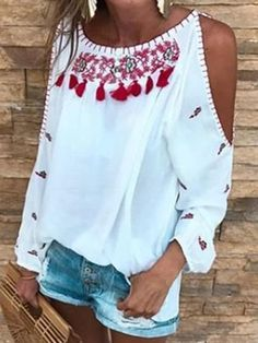 Printed Long Sleeve Off Shoulder Loose T-Shirt Top Boho Outfits, Casual Outfits, Fashion Outfits, Mode Hippie, Boho Dress, Swag Dress, Linen Pants, Blouse Styles, New Wardrobe
