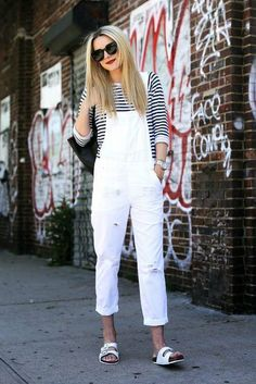 Blair Eadie of Atlantic Pacific rocks a girlfriend-cut pair of overalls. Slouchy like a boyfriend jean but a touch slimmer, it's more tailored than a traditional distressed pair.