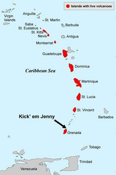 Localisation du volcan sous-marin Kick 'em Jenny dans l'arc des Caraïbes
