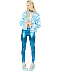METALLIC AQUA LEGGINGS at shopjeen.com