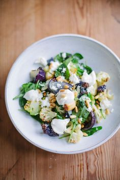 Meatless Monday - Roasted Cauliflower Salad with Feta Cheese & Pine nuts and a garlic & lime sauce