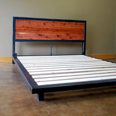 Kraftig Platform Bed with Tennesee Cedar Headboard Steel Furniture, Industrial Furniture, Diy Furniture, Furniture Design, Wood Beds, Metal Beds, Steel Bed Frame, Bed Platform, Headboard Designs