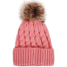 Women's Winter Soft Knitted Beanie Hat with Faux Fur Pom Pom, Ginger... ($12) ❤ liked on Polyvore featuring accessories, hats, beanie cap hat, beanie caps, pom pom beanie, pompom hat and pom pom beanie hat