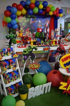 See more party ideas and share your Hulk Birthday Parties, Superman Birthday Party, Avengers Birthday, Batman Party, Boy Birthday, Superhero Party Favors, Avengers Room, Spy Party, Superhero Cake