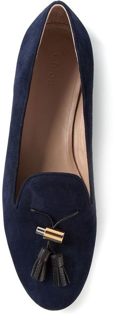 $515, Navy Suede Tassel Loafers: Chloé Dafne Loafers. Sold by farfetch.com. Click for more info: https://lookastic.com/women/shop_items/113968/redirect