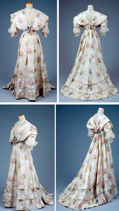"Picture 1 of 2. Dress, 1900-1909. Warp print silk gown with jacquard floral pattern. Ecru and white with pink, green, and yellow flowers. V-neck with lace inset. High collar, shawl-effect bodice. Cummerbund with rosette at center. Skirt has lower band detail and a train. A full silk underskirt is attached. Hook and eye and snap closing. Tag says ""Landum Minneapolis."" Goldstein Museum of Design."