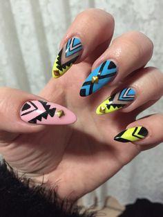 Fluro Aztec nails!