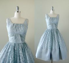Vintage 1950s formal dress, dreamy cool silver blue lace over satin underdress, fitted bodice and full pleated skirt, cumberbund waist, tank style
