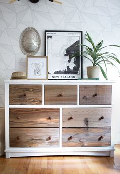 (Weathered wood on drawer fronts is Reclaimed Sierra Silver Stikwood Planks) (Verwittertes Holz an d Refurbished Furniture, Repurposed Furniture, Furniture Makeover, Painted Furniture, Reclaimed Wood Bedroom Furniture, Reclaimed Wood Dresser, Ikea Dresser Makeover, Furniture Projects, Diy Furniture