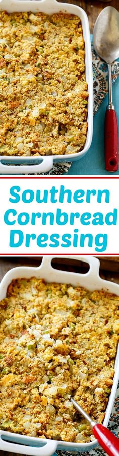 Southern Cornbread Dressing Recipe: self rising cornmeal, self rising flour, buttermilk, eggs, vegetable oil, butter, onion, celery, dried Sage, poultry seasoning, salt, pepper, toast, milk, eggs, and chicken stock or broth.