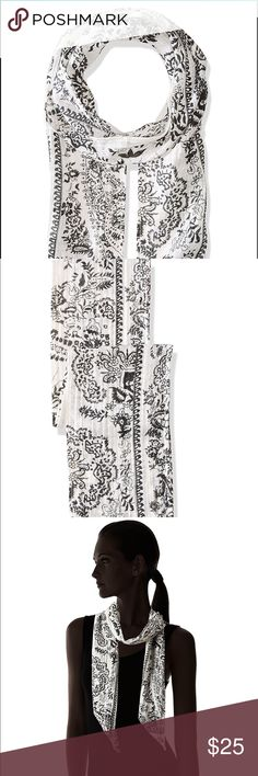 Michael Stars Women's Porcelain Skinny Scarf Brand New Vivid paisley patterns flourish on a skinny, minimalist scarf. Wear instead of a necklace for new updated look Accessories Scarves & Wraps