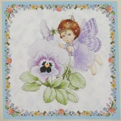 "C Fairy Baby Pansy Flower  Large 10.25"" quilt block Square Cotton Quilting"
