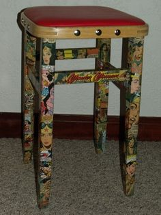 For john comic book decoupage.using new but vintage looking comic books, of course. Decoupage Furniture, Funky Furniture, Repurposed Furniture, Furniture Projects, Furniture Making, Furniture Makeover, Painted Furniture, Diy Projects, Furniture Design