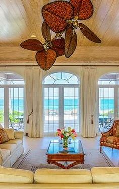 Oceanfront living room at Waterside Escapes Villa (West End, Grand Bahama Island)