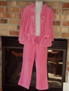 New Kid Headquarters Girls Pink Velour Hooded Jacket Size 6