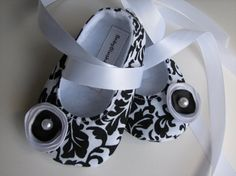 Black & White Damask Baby Shoes