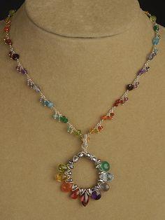 Multi Colored Spectrum Necklace Chain | Handcrafted Jewelry Wire Jewelry, Jewelry Crafts, Jewelry Art, Beaded Jewelry, Jewelery, Jewelry Necklaces, Jewelry Design, Wire Wrapped Necklace, Diy Necklace