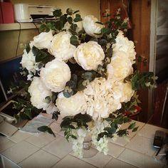 One down 20 more to go !! #weddingflorist #flowerstagram #wedding #leeds #lovemyshop #white #roses #hydrangeas #bloomingfantastic