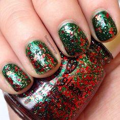China glaze party hearty over china glaze holly day. Christmas nails. Christmas nail art.